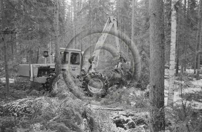 Keto 50-kuormainharvesteri ja Joutsa 50 X-puomi puunkorjuussa.