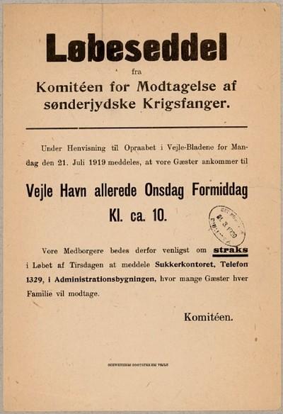 Løbeseddel fra Komitéen for Modtagelse af sønderjydske Krigsfanger