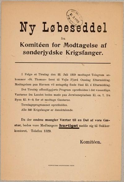 Ny Løbeseddel fra Komitéen for Modtagelse af sønderjydske Krigsfanger