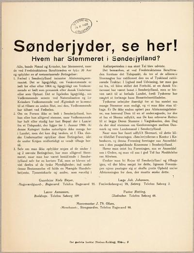 Sønderjyder, se her : Hvem har Stemmeret i Sønderjylland