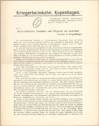 An die hochverehrlichen Vorstände und Mitglieder der deutschen Vereine in Kopenhagen