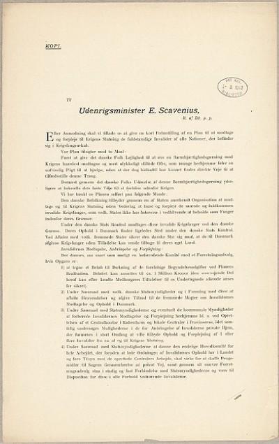 Til Udenrigsminister E. Scavenius