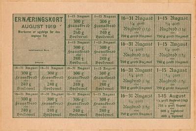 Ernæringskort : August 1919
