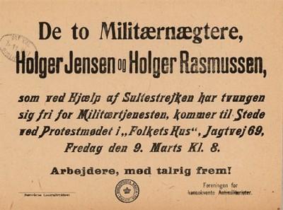 De to Militærnægtere, Holger Jensen og Holger Rasmussen ...
