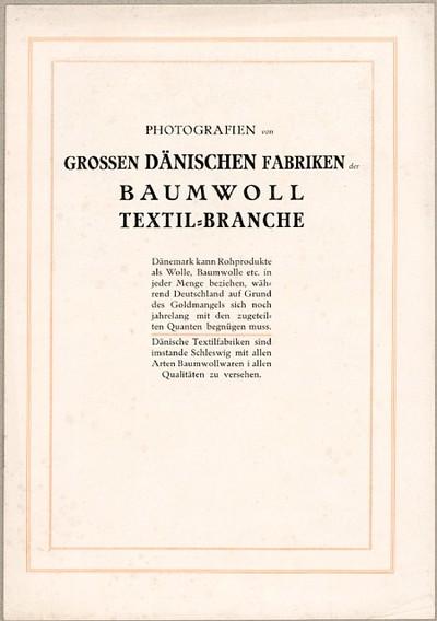 Photografien von grossen dänischen Fabriken der Baumwoll Textil-Branche
