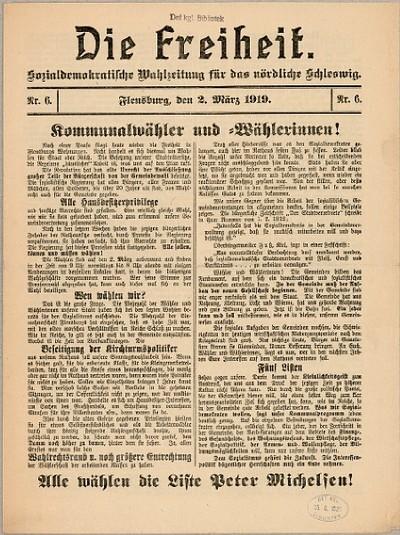 Die Freiheit : Socialdemokratische Wahlzeitung für das nördliche Schleswig : Nr. 6