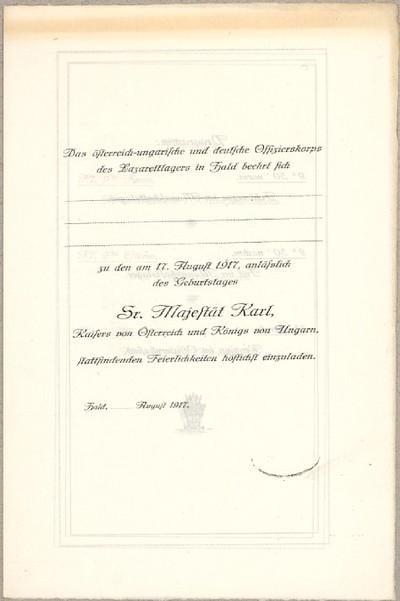 Das österreich-ungarische und deutsche Offizierskorps des Lazarettlagers in Hald beehrt Sich ...