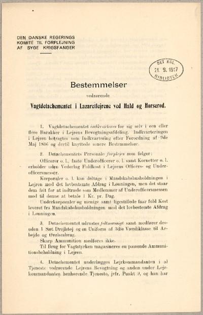 Bestemmelser vedrørende Vagtdetachementet i Lazaretlejrene ved Hald og Horserød