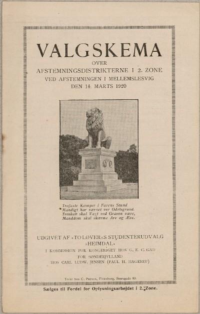 Valgskema over Afstemningsdistrikterne i 2. Zone ved Afstemningen i Mellemslesvig den 14. Marts 1920