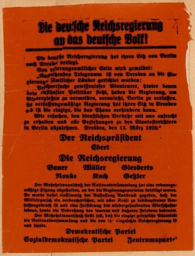 Die deutsche Reichsregierung an das deutsche Volk
