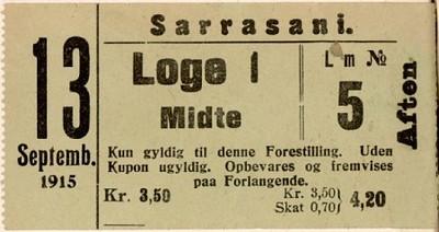 Billet : Loge i Midte : 13. Septemb. 1915