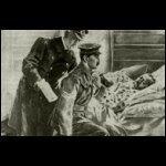 A gyengélkedő angol király, aki lováról leesve megsérült, érdemkeresztet tűz egy katona mellére