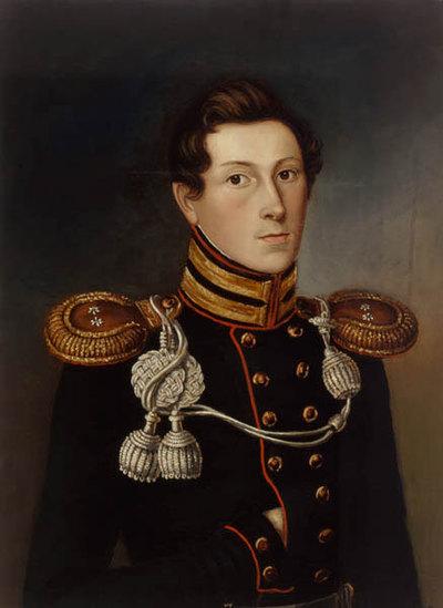 Ernst I. von Sachsen-Coburg-Saalfeld als Erbprinz in der Uniform eines preußischen Offiziers