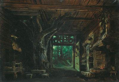 Die Walküre, 1. Akt: Das Innere der Wohnung Hundings (Entwurf für die Ring-Aufführung in Bayreuth 1896)