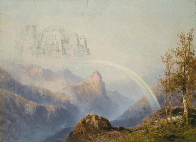 Das Rheingold, 2. Szene: Freie Gegend auf Bergeshöhen (Entwurf für die Ring-Aufführung in Bayreuth 1896)