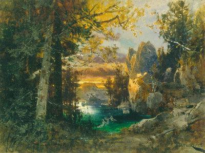Szenenbild Götterdämmerung, 2. Akt: Uferraum vor der Halle der Gibichungen (Entwurf für die Ring-Aufführung in Bayreuth 1896)