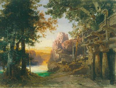 Szenenbild Götterdämmerung, 3. Akt: Wildes Wald- und Felsental am Rheine (Entwurf für die Ring-Aufführung in Bayreuth 1896)