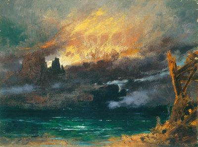 Szenenbild Götterdämmerung, 4. Akt: Schlußbild der Götterdämmerung mit Saal Walhalls (Entwurf für die Ring-Aufführung in Bayreuth 1896)
