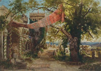 Szenenbild Burggraf von Nürnberg, 4. Aufzug: Terasse auf der Burg Falkenstein am Donnersberg