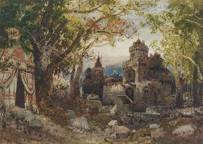 Szenenbild Burggraf von Nürnberg, 5. Aufzug, 8. Auftritt: Verwandlung, Zelt Rudolfs von Habsburg vor den Toren Basels