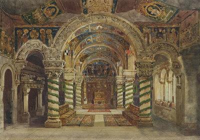 Szenenbild Burggraf von Nürnberg, 5. Aufzug: Die Halle der Kaiserwahl zu Frankfurt am Main