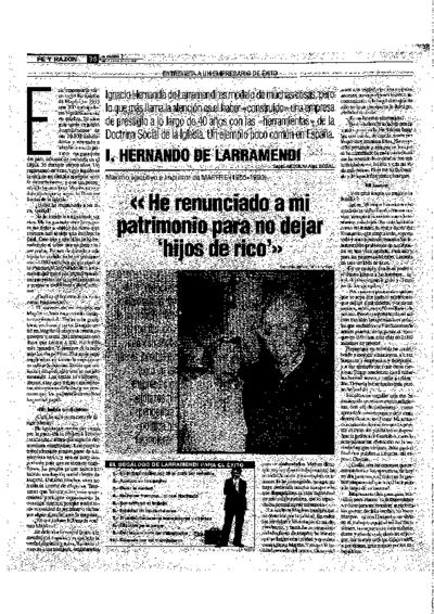 I. Hernando de Larramendi : He renunciado a mi patrimonio para no dejar hijos de rico