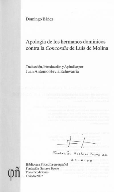 Apología de los hermanos dominicos contra la Concordia de Luis de Molina