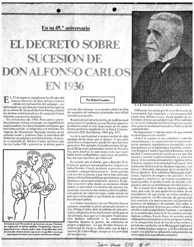 El Decreto de Sucesión de D. Alfonso Carlos en 1936