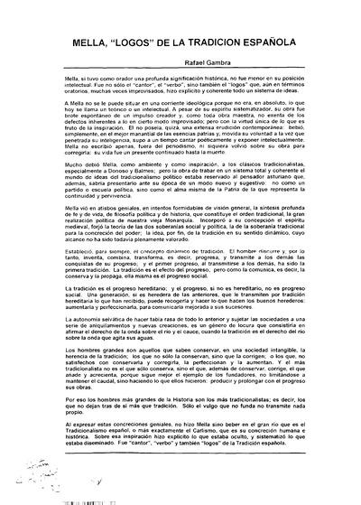Mella, Logos de la tradición española