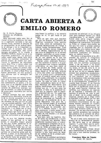 Carta abierta a Emilio Romero