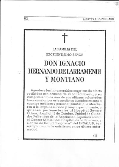 [Esquela de] Don Ignacio Hernando de Larramendi y Montiano