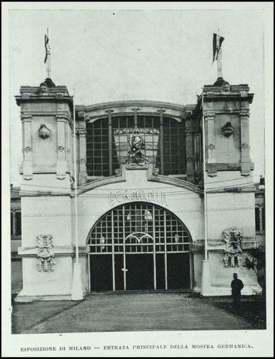 Entrata principale della mostra germanica dell'Esposizione di Milano
