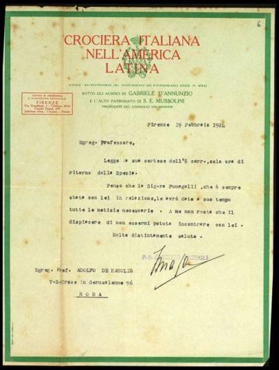Lettera della Croce Rossa Italiana a De Carolis