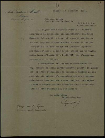 Lettera di G. Moretti a De Carolis