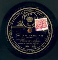 Goiko mendian  [Grabación sonora]  : canto vasco ; Maitasun atsekabea : canto vasco  / Jesús Guridi