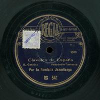 Claveles de España  [Grabación sonora]  : pasodoble flamenco  / L. Gastón. La bejarana. Rondalla de los quintos / E. Serrano y F. Alonso