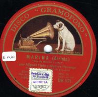 Marina. Dúo de Marina y Jorge [Grabación sonora] / Arrieta. La borrachita : canción / I. Fernández Esperón Tata Macho ; arr. Corrona