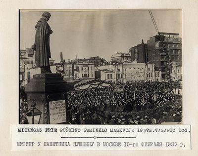 1937-02-10 mitingas prie poeto Aleksandro Puškino paminklo Maskvoje