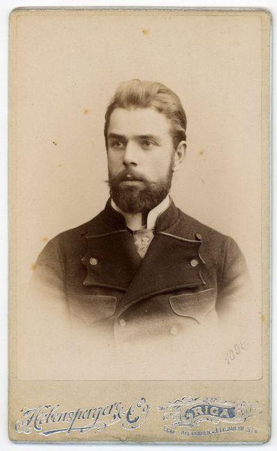 Nežinomo vyro portretas (galimai M. Šikšnio bendradarbis mokytojas Rygos realinėje mokykloje). Ryga, ~1900–1910 metai