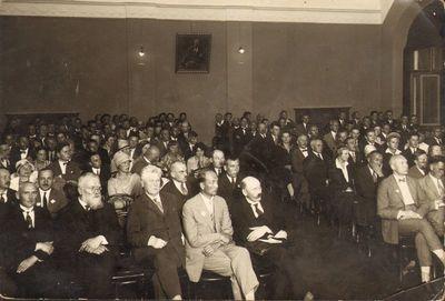 """""""Kultūros"""" kongresas Kaune, universiteto aktų salėje 1927 metais"""