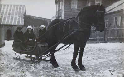 "Nuotrauka ""Arklys traukia roges Vabalninko miestelio gatvėje"""