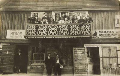 """Nuotrauka """"M. Matelio mėsos parduotuvė Linkmenų miestelyje"""""""
