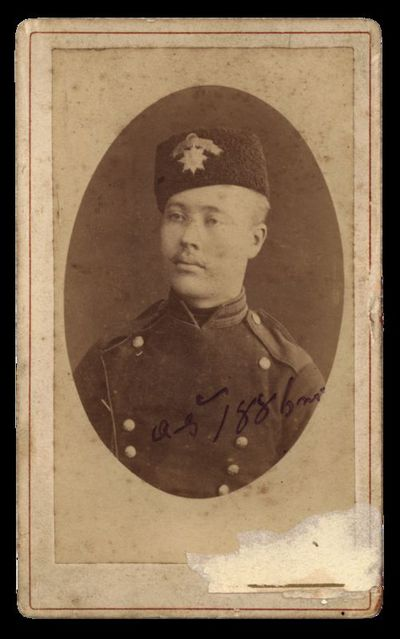 Raudondvario grafų Tiškevičių dvaro ūkvedžio Aleksandro Germano portretas su įrašu aš 1886 m.
