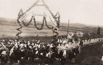 Vytauto Didžiojo paveikslo išlydėjimas prie vartų Kaišiadoryse