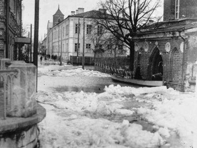 Apsemta Aleksoto gatvė ties Miesto ligonine. Kaunas