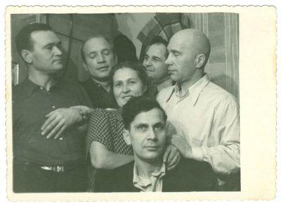Juozas Grušys su draugais. Vorkutos lageris.