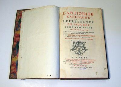 Knyga. B. de Montfaucon. L'Antiquité Expliquée, et Représentée en Figures. T.3, p. 2. Paris: Chez Florentin Delaulne, Hilaire Foucault, Michel Clousier, [et. al.].1722