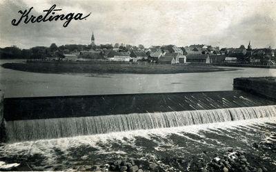Kretingos miesto vaizdas nuo Birutės gatvės tilto per Akmeną