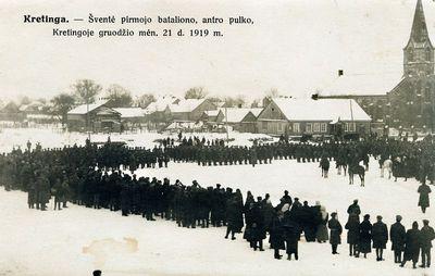 Lietuvos kariuomenės 2-ojo pėstininkų pulko 1-ojo bataliono šventė 1919-12-21 Kretingoje