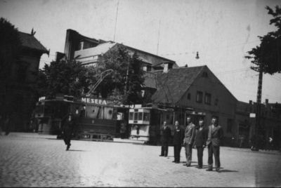 Klaipėda. Tramvajus Biržos - Aleksandro (dabar H. Manto - Liepų) gatvių sankryžoje